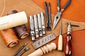 stock photo of leather tool  - Handmade leather craft tool - JPG