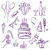 image of life events  - birthday party set silhouette vector illustration  sketch - JPG
