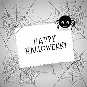Cute Spider, Webs And White Card Over Gray Background. Invitation Or Greeting Card With Place For Yo