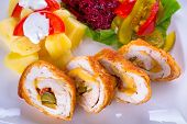 Stuffed chicken rolls with sundried tomatoes and jalapenos