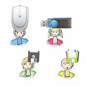 Kids Holding Technology Tools Inside Hole Papers. Vector Design.