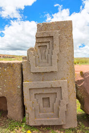 picture of pumapunku  - One of the megalithic stones with intricate carving in the complex Puma Punku - JPG