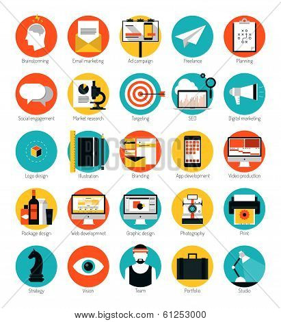 Marketing And Design Services Flat Icons Set poster