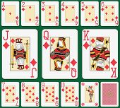 Playing cards diamond suit, joker and back. Faces double sized. Green background in a separate level in vector file