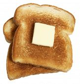 Two piece of buttered toast on white background