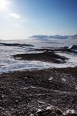 A cold and barren winter landscape in Svalbard, Norway