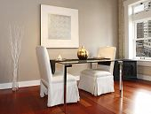 image of reconstruction  - Elegant glass table with white luxury chairs in modern reconstructed living room - JPG