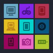 Electronics web icons set. Color buttons.