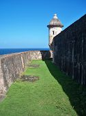 Between the outer walls of Castillo de San Cristobal