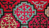 picture of yurt  - Kazak felt carpet with ornament on the wall of the yurt - JPG