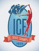 Badge design of figure skate champs with a pretty flag-bearer on ice. Editable vector illustration.