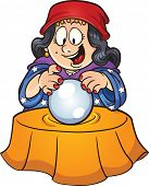 Gypsy woman looking at a crystal ball. Vector clip art illustration with simple gradients. All in a