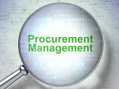 Business concept: Procurement Management with optical glass