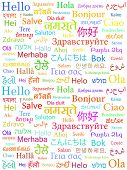 image of interpreter  - The word Hello written with the different world languages over white background - JPG