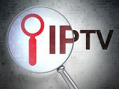 Web design concept: Search and IPTV with optical glass