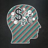 Education concept: Head With Finance Symbol on chalkboard background
