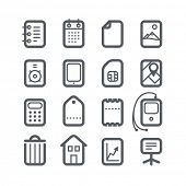 Different vertical Web icons set with rounded corners isolated on white. Design elements