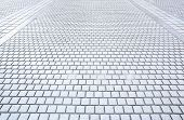 Perspective of concrete brick pavement road