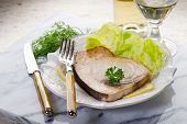 roasted swordfish and salad