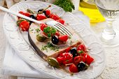 foto of swordfish  - swordfish with tomatoes capers and olive - JPG