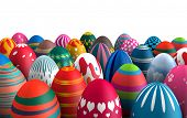 Colorful standing Easter eggs isolated white background 3d illustration