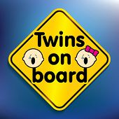 Twins on board sticker - vector illustration