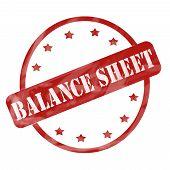 Red Weathered Balance Sheet Stamp Circle And Stars