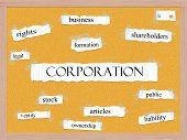 Corporation Corkboard Word Concept