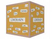 Corporation 3D Cube Corkboard Word Concept