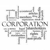 Corporation Word Cloud Concept In Black And White