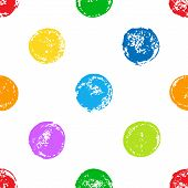 Colorful sponge print polka dot grunge seamless pattern on white, vector