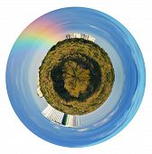 Urban Spherical View With Rainbow In Blue Sky