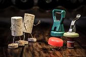 picture of midget  - various bottle caps in a competition wine cork figures - JPG