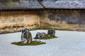 A Zen Rock Garden at Ryoanji Temple in Kyoto