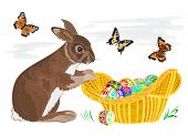 Bunny With Easter Eggs In A Basket