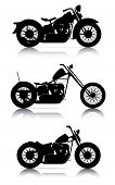 picture of chopper  - set of high quality motorcycle silhouettes on white - JPG