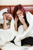 Ailing Couple In Bedroom
