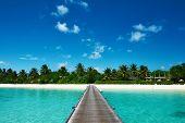 Beautiful beach with jetty at Maldives