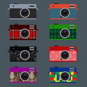 Set of Retro Cameras, hipster style