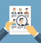 foto of candid  - Flat design style modern vector illustration concept of human resources management finding professional staff head hunter job employment issue and analyzing personnel resume - JPG