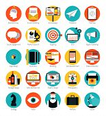 stock photo of strategy  - Flat design icons set modern style vector illustration concept of web development service social media marketing graphic design business company branding items and advertising elements - JPG