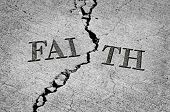 Detail Illustration of broken faith with cracked cement