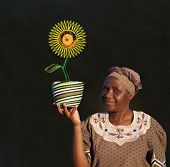 image of zulu  - South African Zulu woman basket sales woman blackboard sunflower - JPG