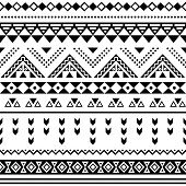 Tibal seamless pattern, white aztec prin black on background