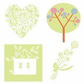 Eco set with tree heart house