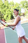 Постер, плакат: Теннис женщины готовы служить