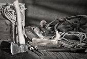 stock photo of joinery  - still life with plane and old tools - JPG