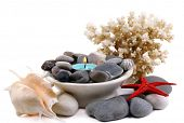 Composition with spa stones, candle, coral and star fish, isolated on white