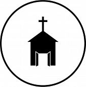 church with open doors symbol