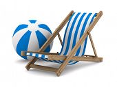 Deckchair and ball on white background. Isolated 3D image